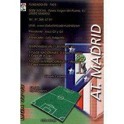 Indice Atlético Madrid 37 Megafichas 2002-03
