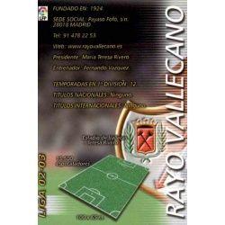 Indice Rayo Vallecano 235 Megafichas 2002-03