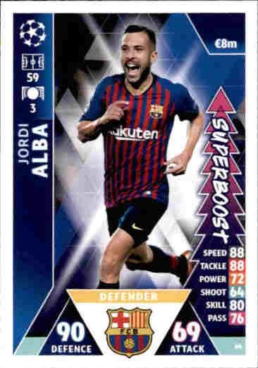 Soccer Cards UP66 Jordi Alba Match Attax Champions League Road To Madrid  2019