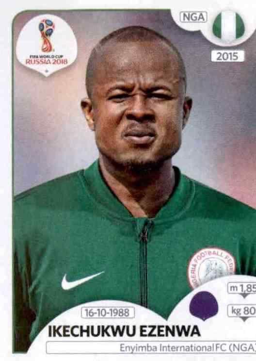 Ikechukwu Ezenwa Sticker 334 Nigeria Panini WM 2018 World Cup Russia