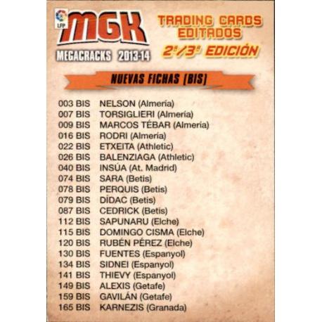 Indice 4 Nuevas Fichas Megacracks 2013-14