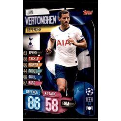 Jan Vertonghen Tottenham Hotspur TOT 6 Match Attax Champions 2019-20