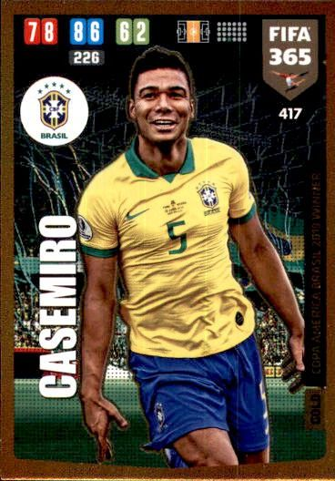 Panini fifa 365 2020 tarjetas cards 417 casemiro copa america brasil Winner