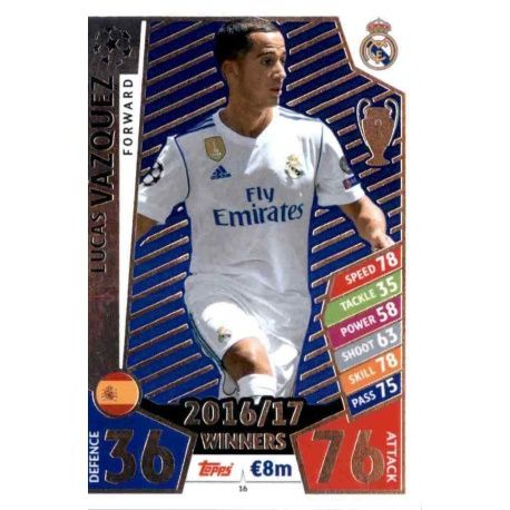 Lucas Vázquez Real Madrid 16 Match Attax Champions 2017-18