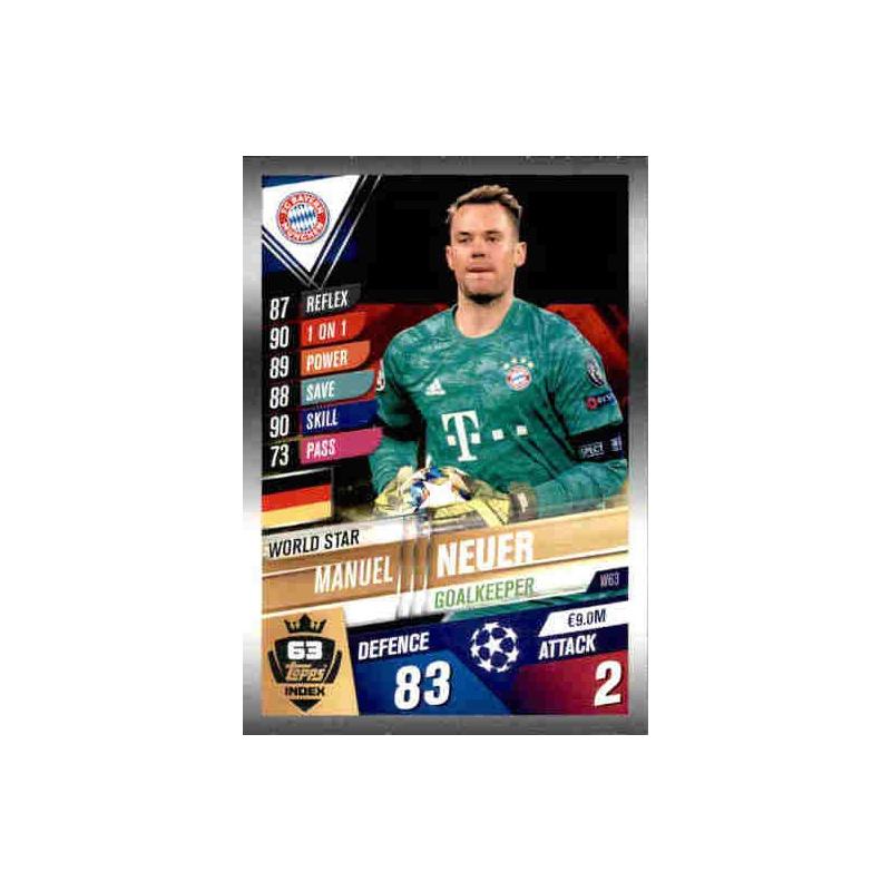 Topps Match Attax 101 Saison 2019//2020 Manuel Neuer W63 World Star