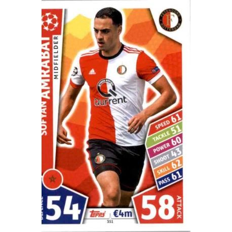 Trading Card From Sofyan Amrabat Of The Feyenoord From Match Attax