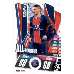 Marco Verratti All Rounder PSG PSG3 Match Attax Champions International 2020-21