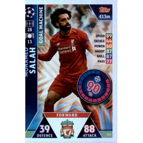 Mohamed Salah - Goal Machine Liverpool 213 Match Attax Champions 2018-19