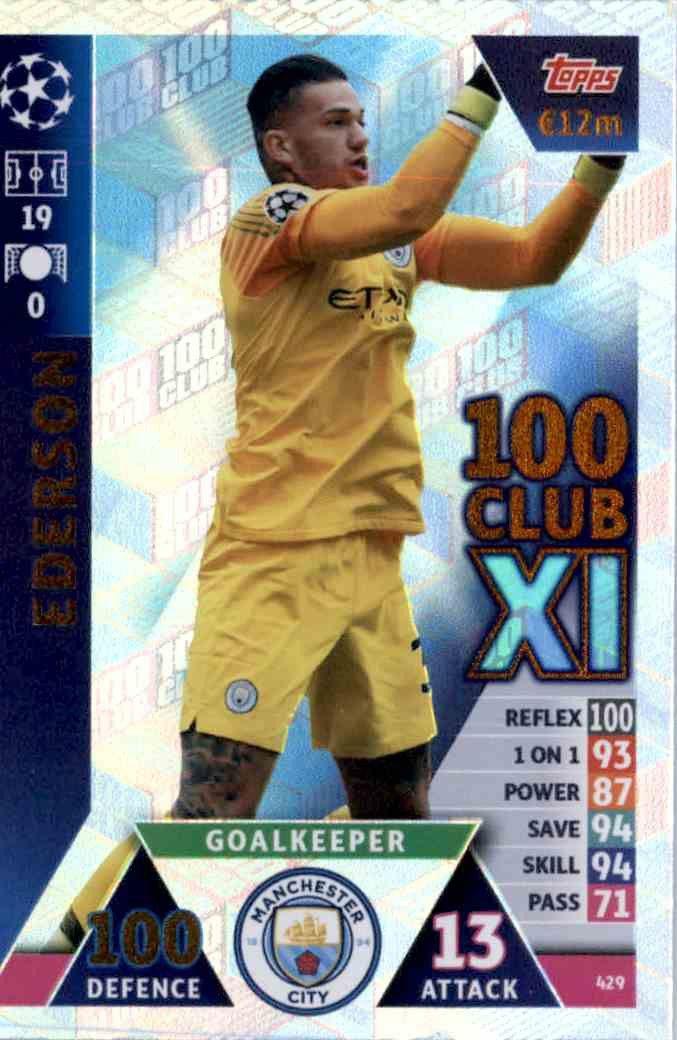 Match Attax Premier League 2018//19 18 19 Gabriel Jésus 100 cents Club Carte