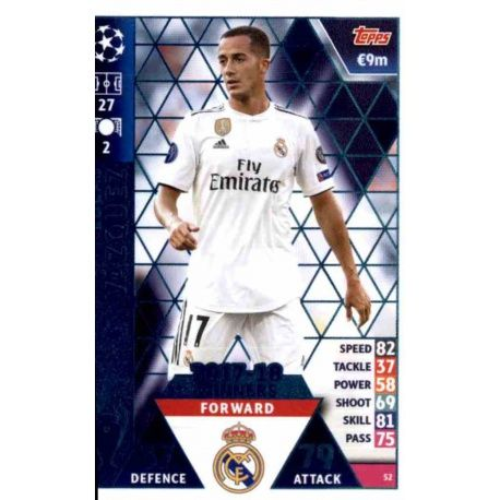 Lucas Vázquez Real Madrid CF – 2017-18 Winners 52 Match Attax Champions 2018-19
